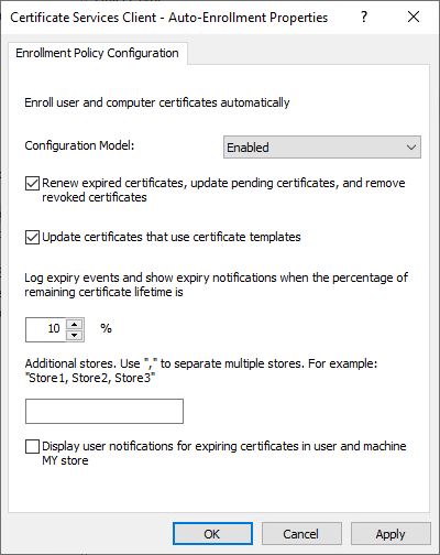 Update certificates that use certificate templates check box