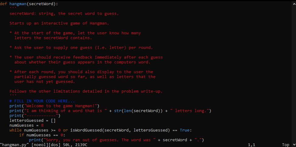 Vi with sample Python program file opened