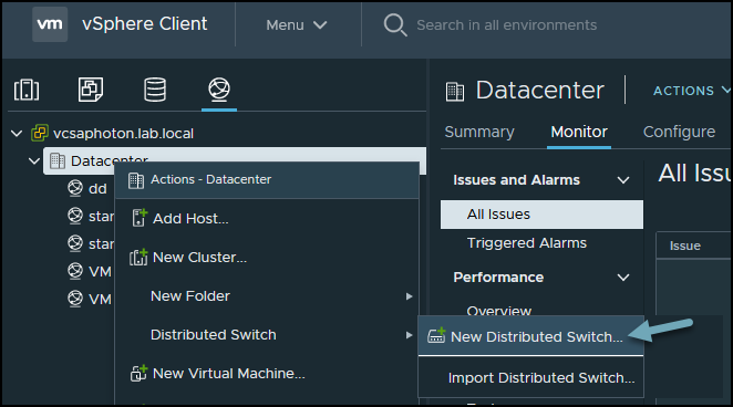 Create new vSphere Distributed Switch