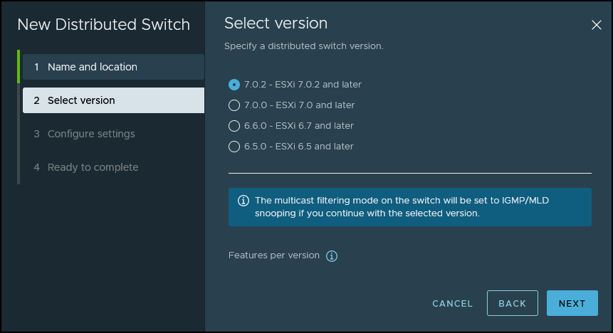 Create new vSphere Distributed Switch Wizard - Select version