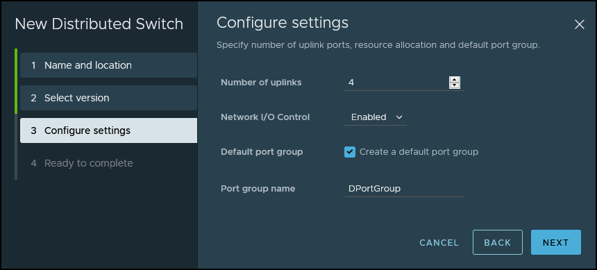 Create new vSphere Distributed Switch Wizard - Uplinks and port group