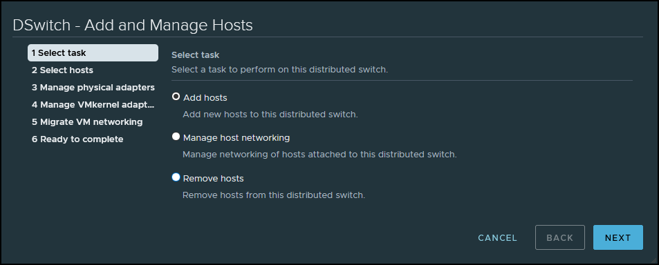 Add hosts to vDS