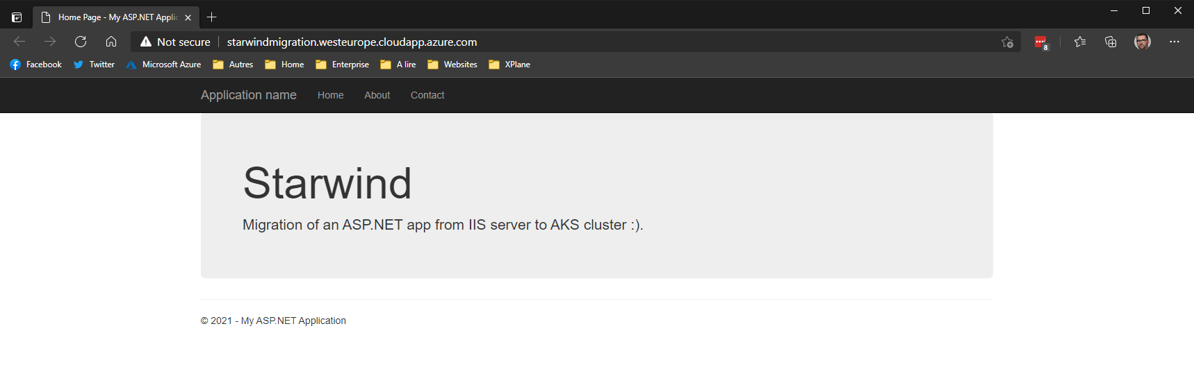 How to migrate an ASP.NET website, from an IIS server, to an AKS cluster
