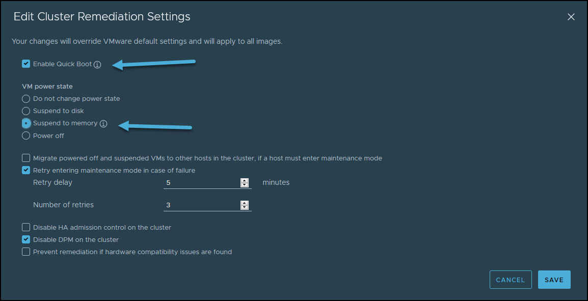 vSphere Lifecycle Manager and Editing cluster remediation settings