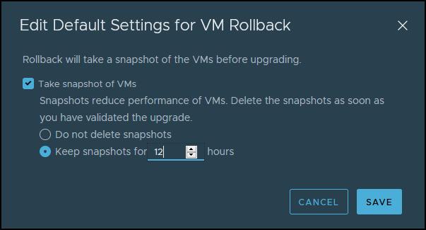 Default settings for VM rollback