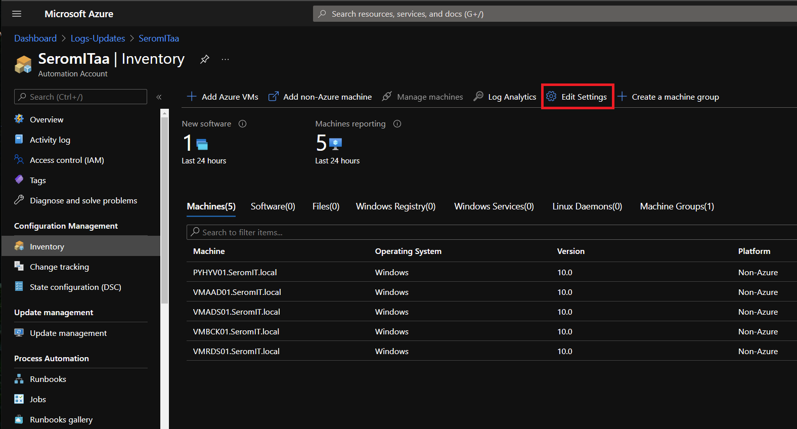 Azure Automation Account and navigate to Inventory