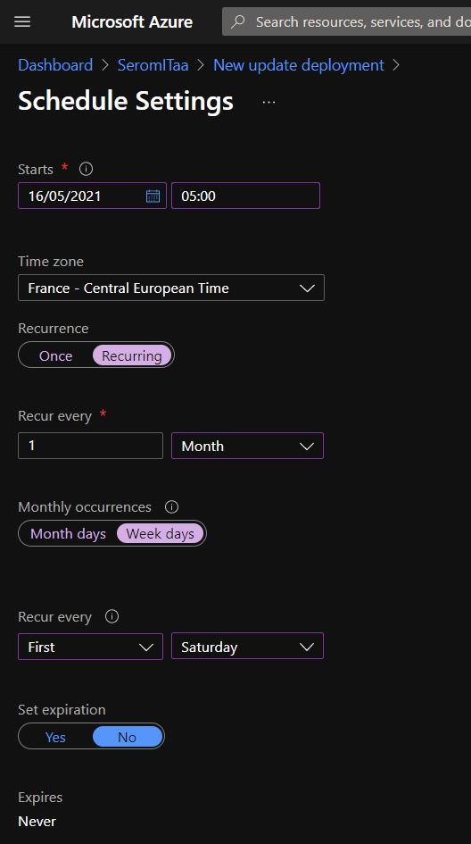 Schedule, configure settings