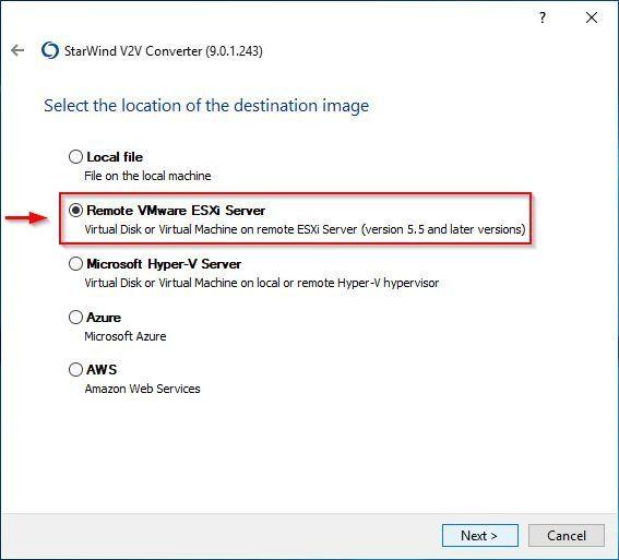 Remote VMware ESXi Server option