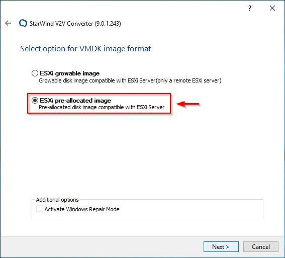 Select ESXi pre-allocated image option