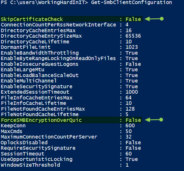 Figure 3: You can configure 2 SMB client settings related to SMB over QUIC