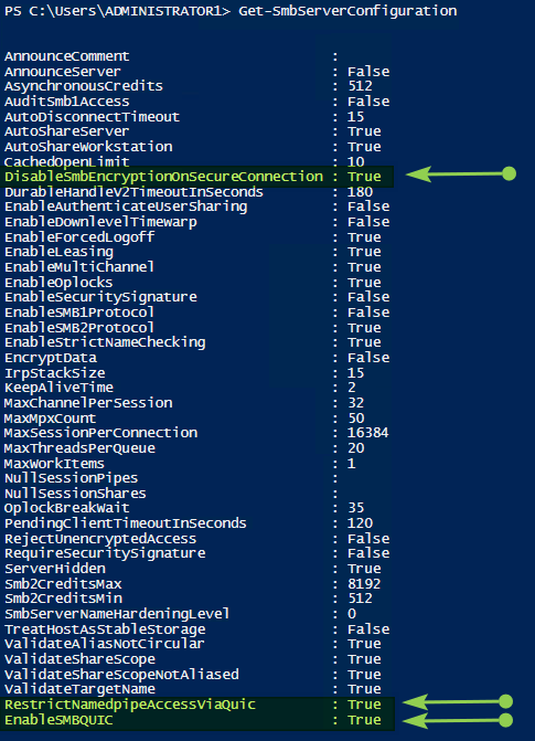 Figure 4: Configure 2 SMB client settings related to SMB over QUIC