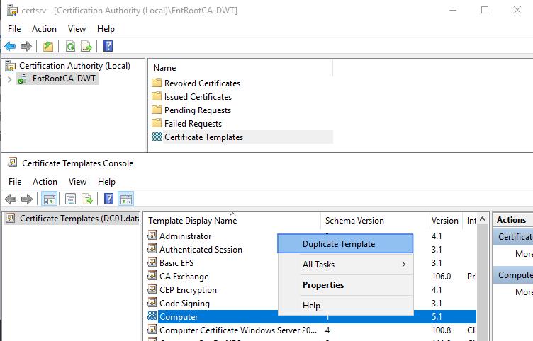 Figure 5: Duplicate the computer certificate