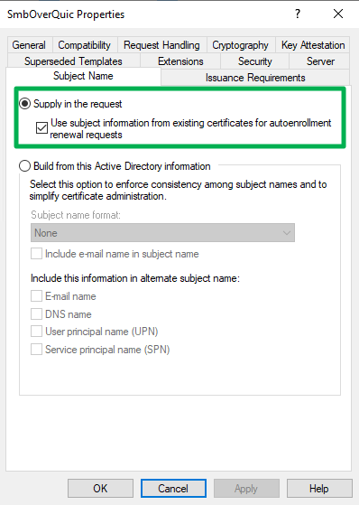 Figure 12: Supply subject name info in the request