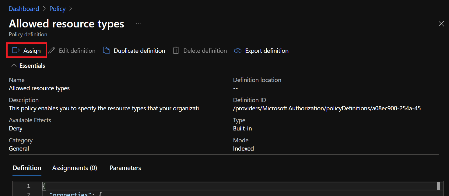 Azure Portal - Policy - Allowed Resource Types - Assign