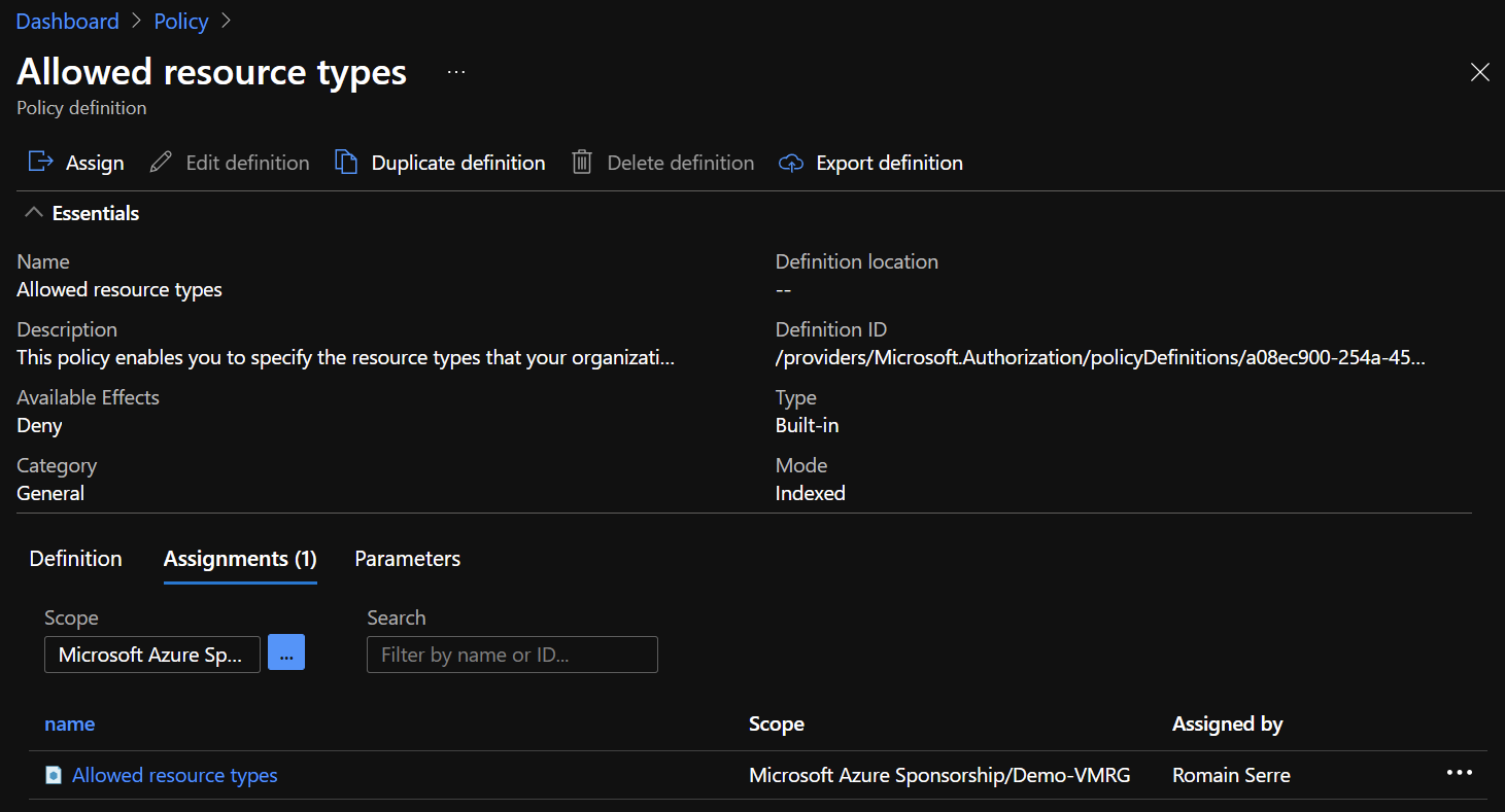 Azure Portal - Policy - Allowed Resource Types - Assignments