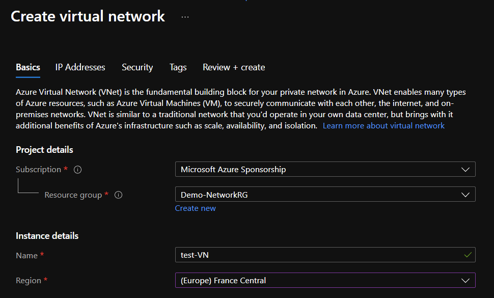 Microsoft Azure - Create a virtual network with a network contributor