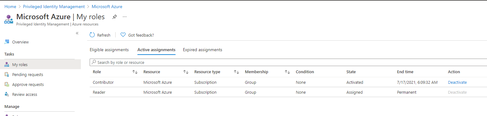 Azure Resources - My Roles
