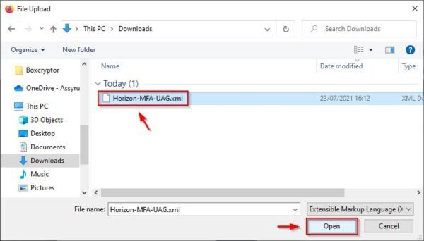 Select the file previously downloaded