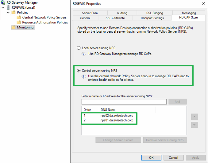 Figure 15: Swap to a Central server running NPS and add the NPS servers