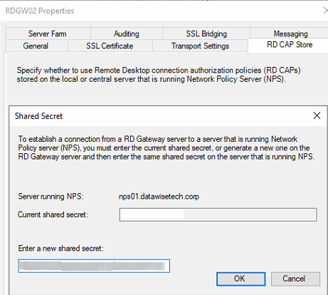 Figure 16: Enter the shared key we created before for the NPS servers