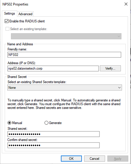 Figure 17: Adding an NPS Server as a RADIUS client on the RD Gateway server