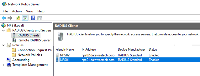 Figure 18: Add both NPS servers as RADIUS clients on the RD Gateway server