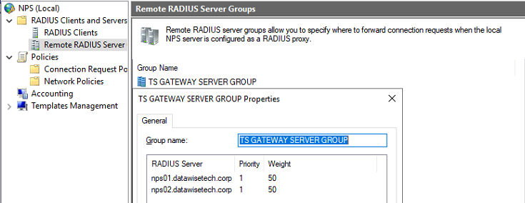 Figure 19: The TS GATEWAY GROUP contains both NPS servers you added when configuring central servers running
