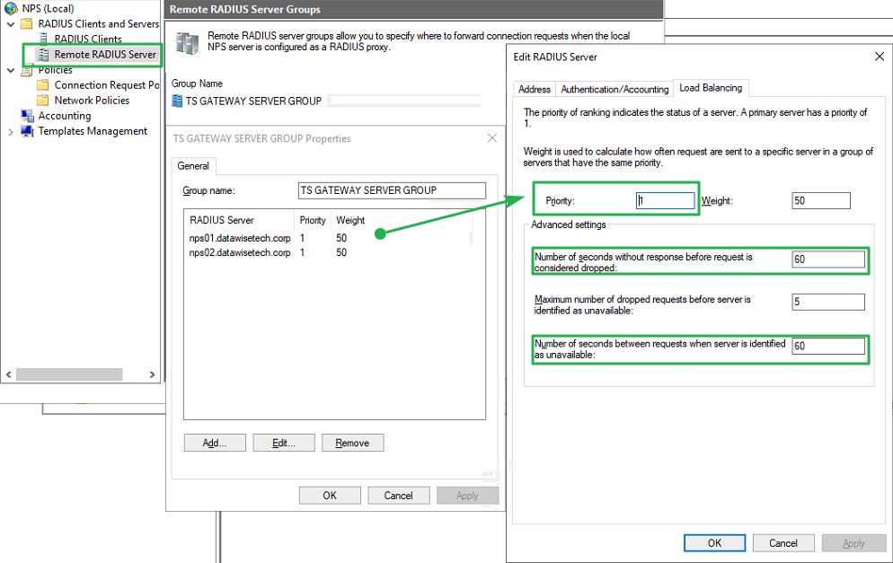 Figure 20: Configure RADIUS timeout value on RD Gateway NPS