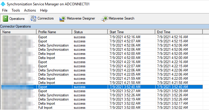 Figure 3: A quick peek at the exports and imports with the Synchronization Service Manager