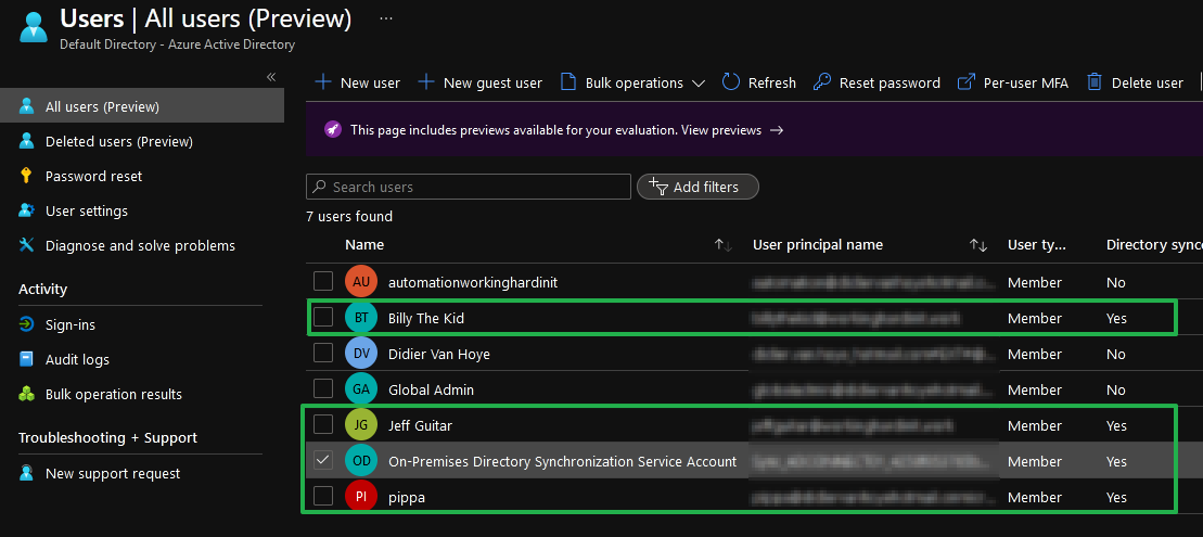 Figure 4: The on-premises users synced to Azure AD
