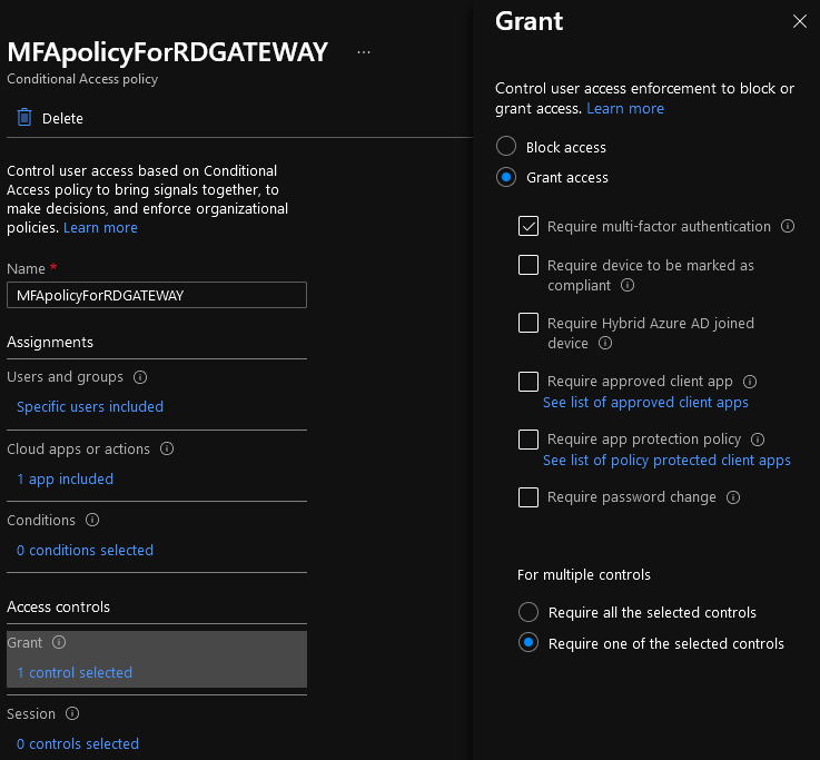 Figure 5: My RD Gateway lab conditional access policy