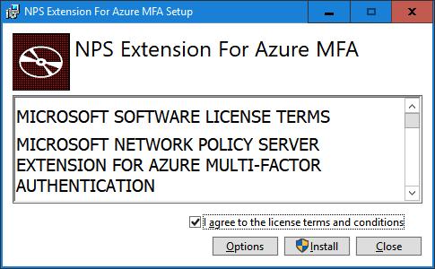 NPS Extension for Azure MFA dialog box
