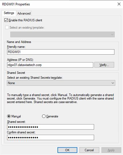 Figure 5: Adding the 1st RD Gateway server