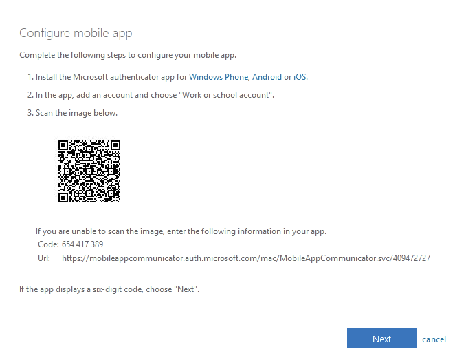 Figure 14: Setting up push notifications with the Authenticator app on a smartphone