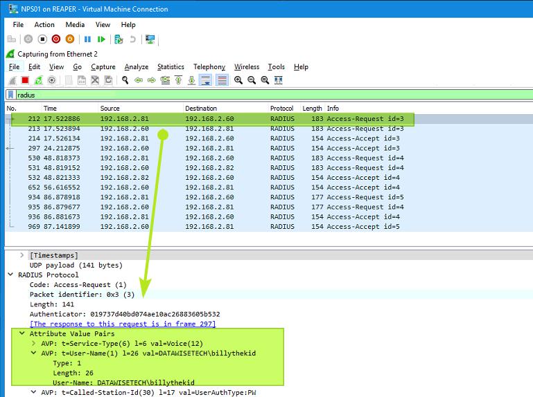 Figure 16: RADIUS traffic on an NPS server captured by WireShark