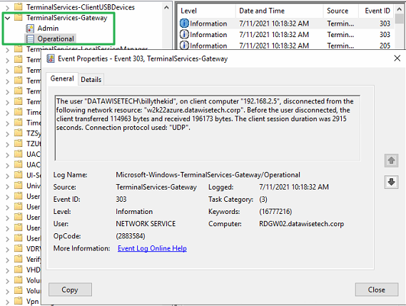 Figure 17: With the TerminalServices-Gateway Operational log, you should be very familiar with already
