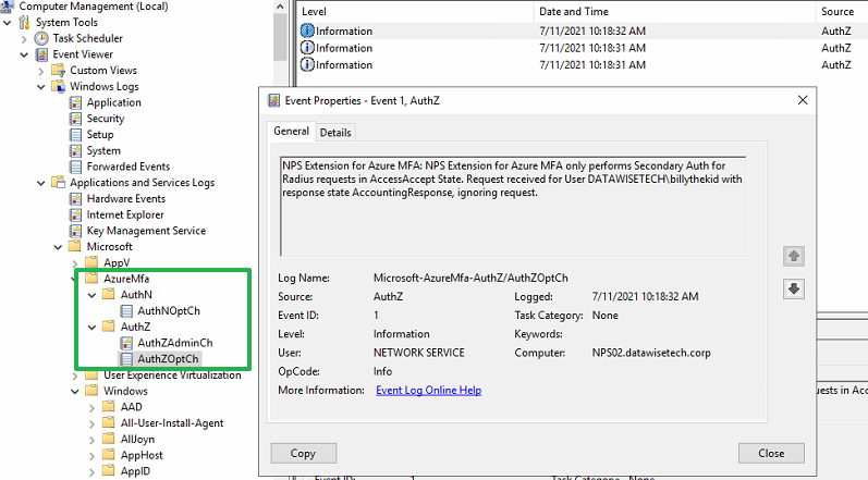 Figure 19: The AuthWOpthCh event log, one of three logs for the NPS Extension for Azure MFA