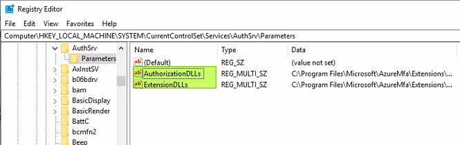 Figure 22: Rename the values to disable the NPS Extension for Azure MFA