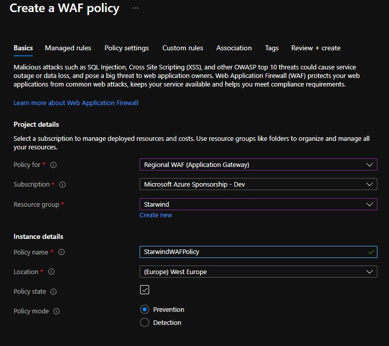 WAF Policy