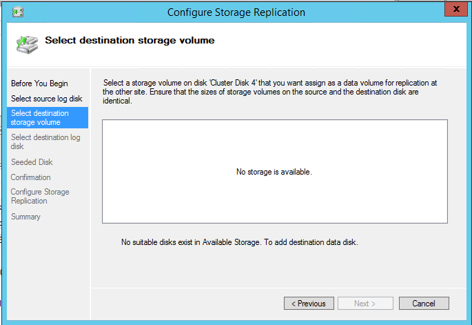 Configure Storage Replication Select destination storage volume