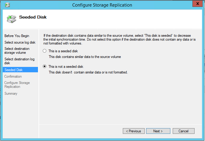 Configure Storage Replication Selected disk