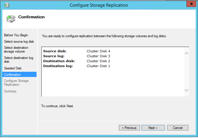 Configure Storage Replication Confirmation