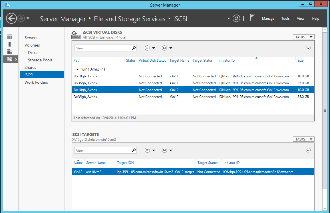 Server Manager File and Storage Services iSCSI