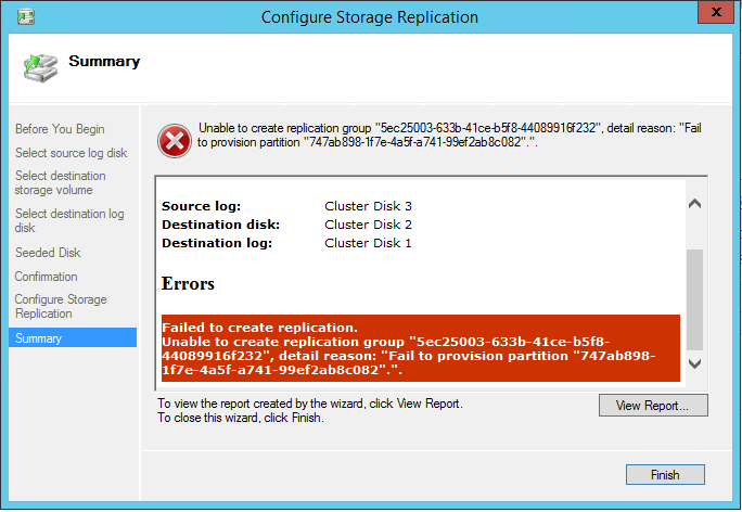Configure Storage Replication: failed to create replication error