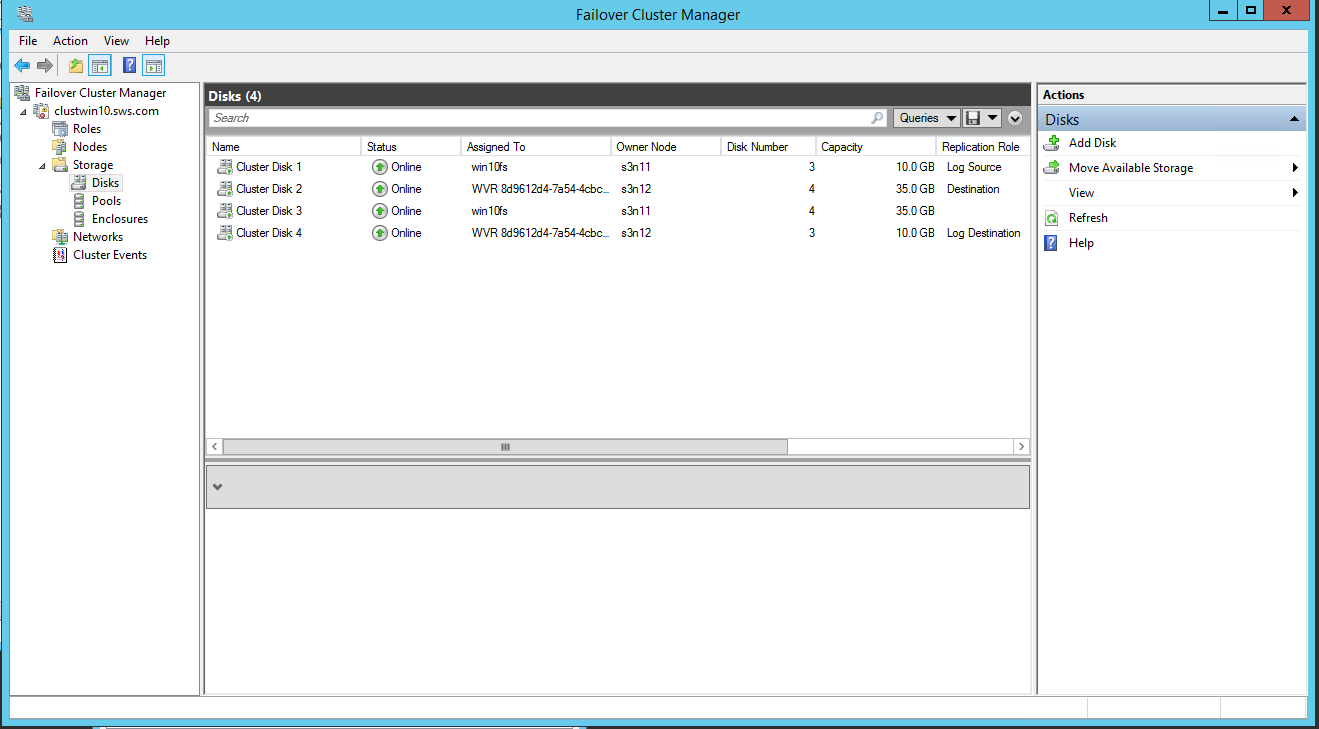 Failover Cluster Manager view