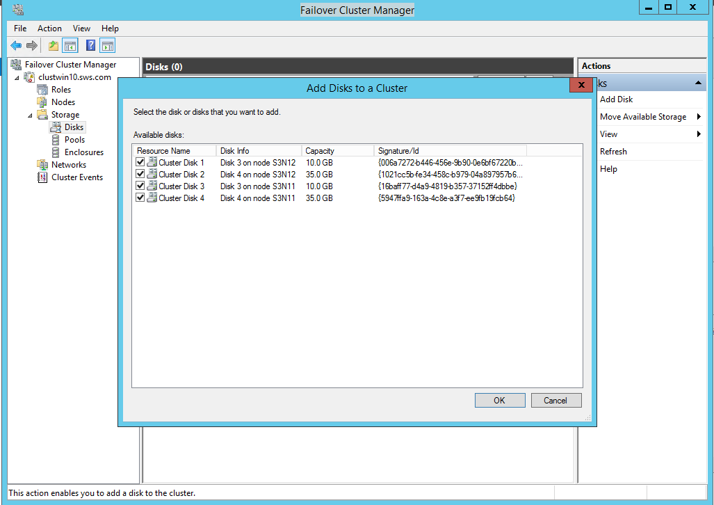 Failover Cluster Manager Add disks to a cluster