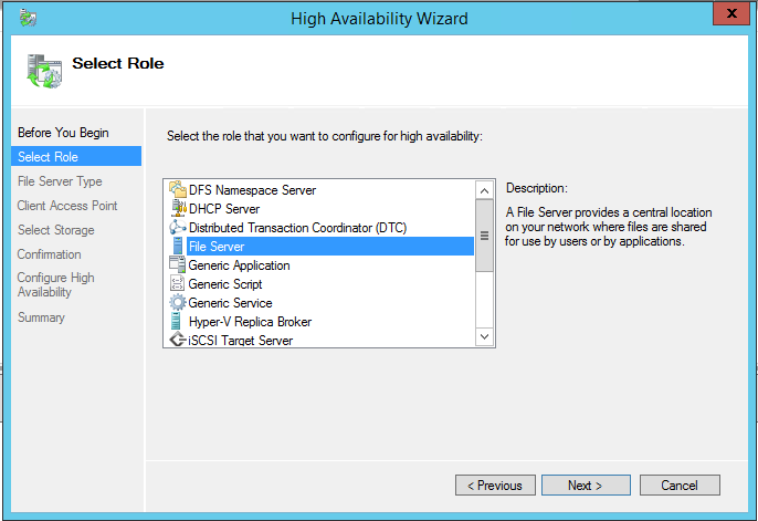 High Availability Wizard File Server role