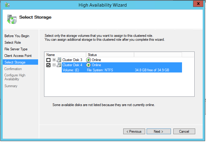 High Availability Wizard Select storage volume