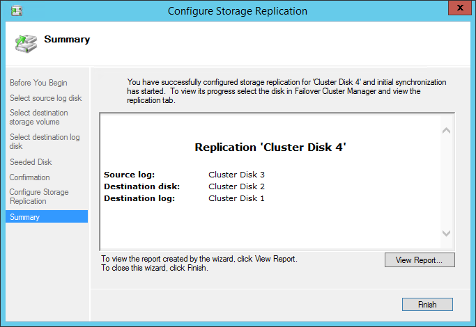 Configure Storage Replication summary