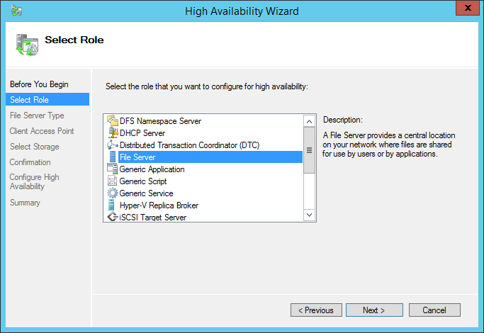 High Availability Wizard Select File Server Role